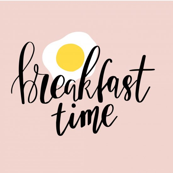 Hand drawn lettering quote Breakfast time on fried egg background. Vector phrase for card, print, poster.
